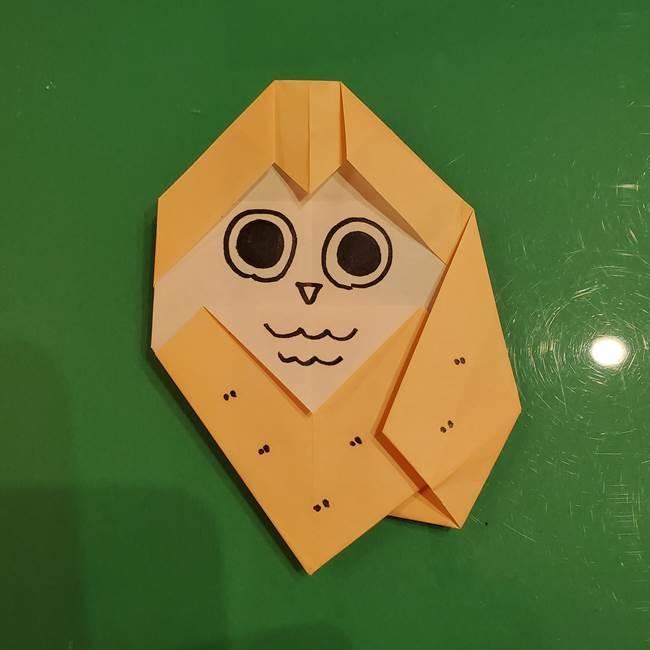 フクロウの折り紙★幼稚園児にも簡単な折り方作り方②描き方(1)