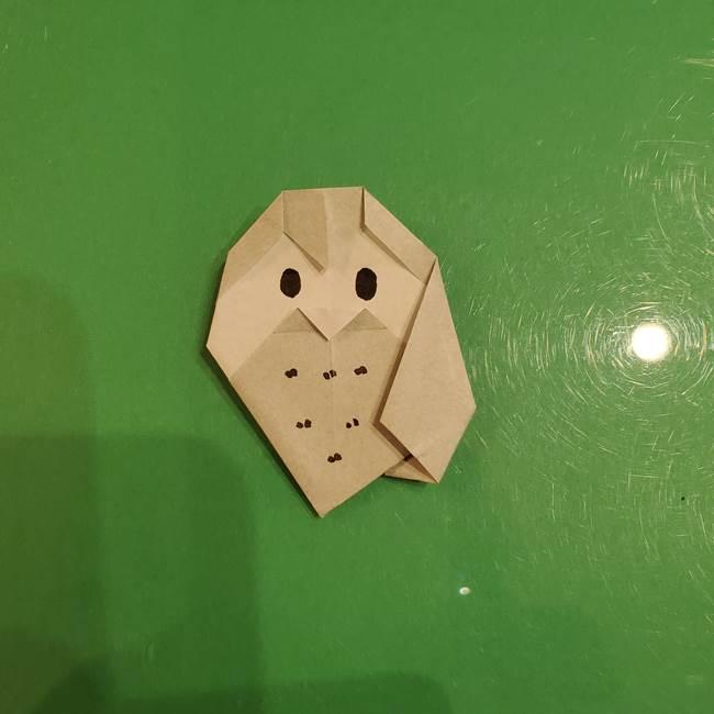 フクロウの折り紙★幼稚園児にも簡単な折り方作り方②描き方(2)