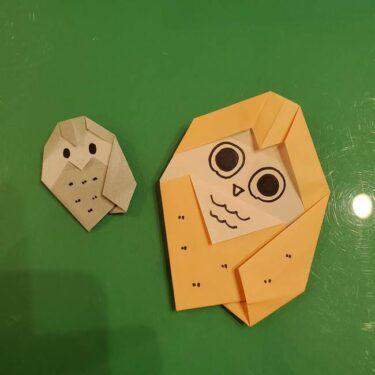 フクロウの折り紙 幼稚園児にも簡単な折り方作り方!敬老に日に子供と手作り☆