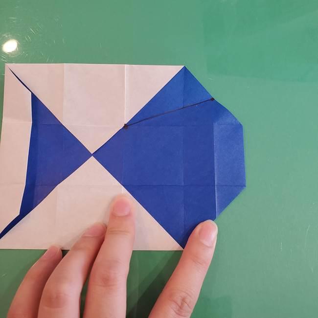 折り紙の箱クジラ(立体)折り方作り方(33)