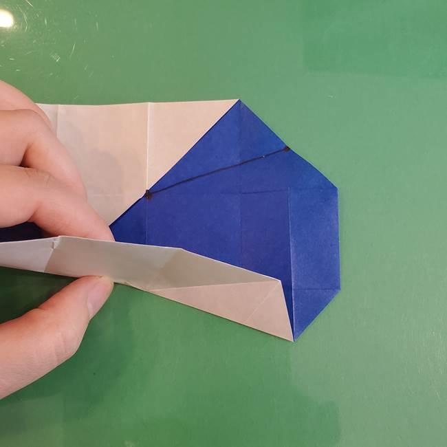 折り紙の箱クジラ(立体)折り方作り方(34)