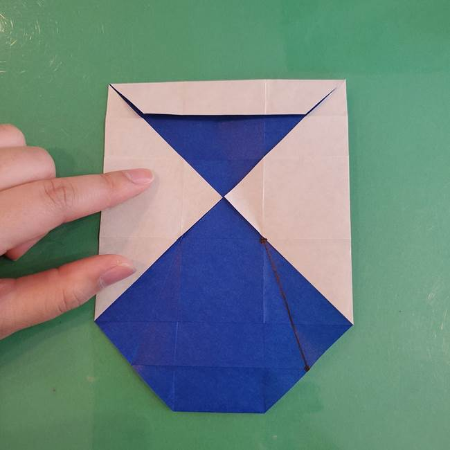 折り紙の箱クジラ(立体)折り方作り方(38)