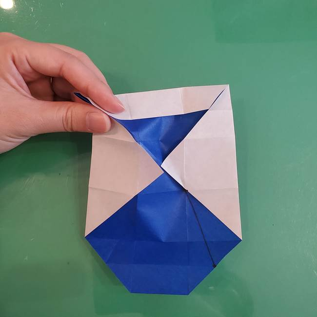折り紙の箱クジラ(立体)折り方作り方(39)