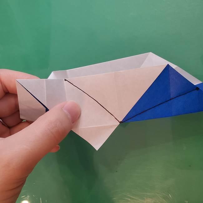 折り紙の箱クジラ(立体)折り方作り方(46)