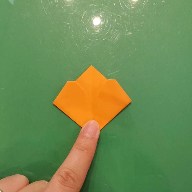 松ぼっくりの折り紙 平面で簡単な作り方折り方①-9