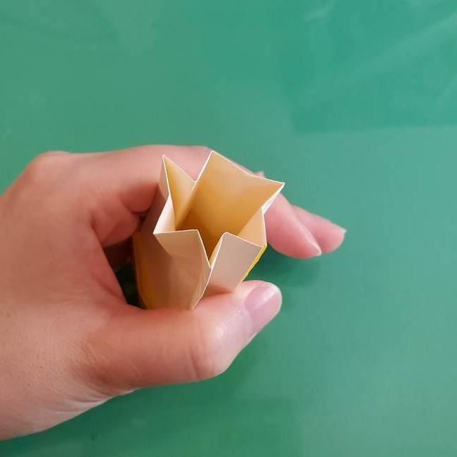 11月の折り紙 きのこの折り方 立体ver.②折る(16)