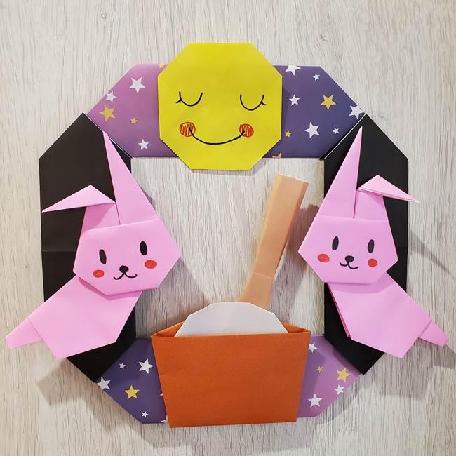 9月お月見の折り紙 うさぎの餅つきリースの簡単な折り方★十五夜に