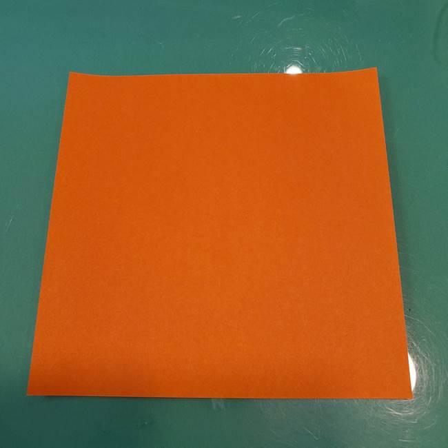 かぼちゃの折り紙 立体で難しいジャックオーランタンの折り方作り方①折り筋(1)