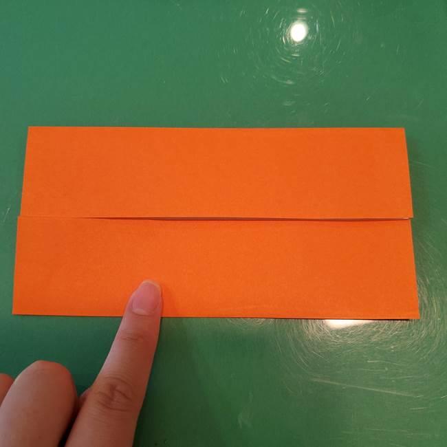 かぼちゃの折り紙 立体で難しいジャックオーランタンの折り方作り方①折り筋(4)