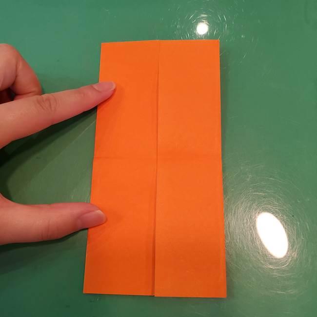 かぼちゃの折り紙 立体で難しいジャックオーランタンの折り方作り方①折り筋(7)