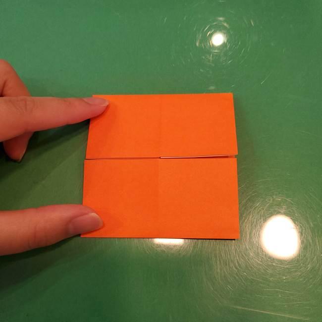 かぼちゃの折り紙 立体で難しいジャックオーランタンの折り方作り方①折り筋(8)