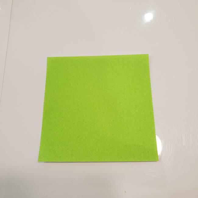かぼちゃの折り紙 立体で難しいジャックオーランタンの折り方作り方③へた(1)