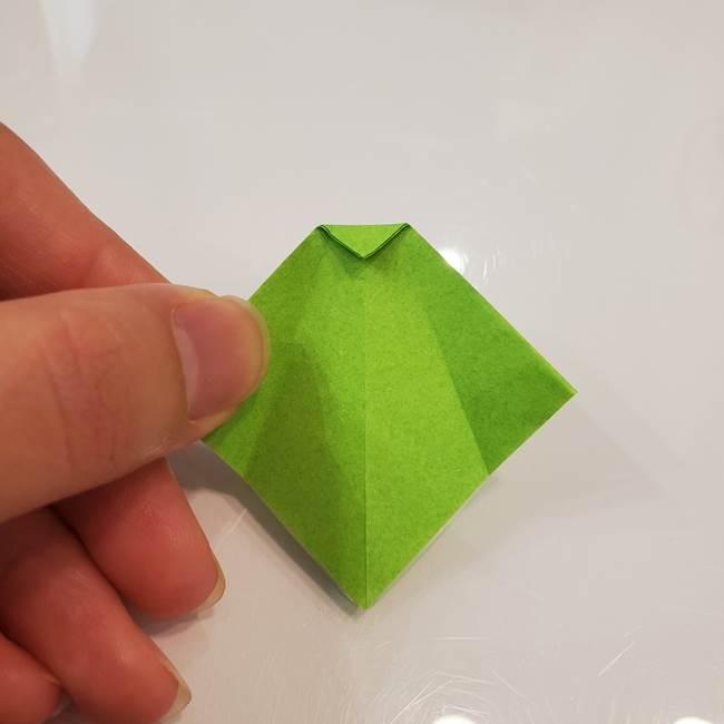 かぼちゃの折り紙 立体で難しいジャックオーランタンの折り方作り方③へた(10)