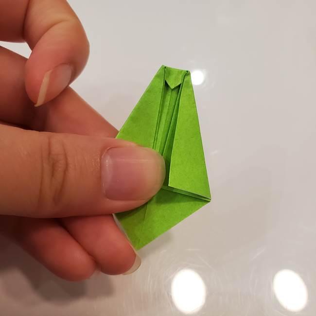 かぼちゃの折り紙 立体で難しいジャックオーランタンの折り方作り方③へた(11)