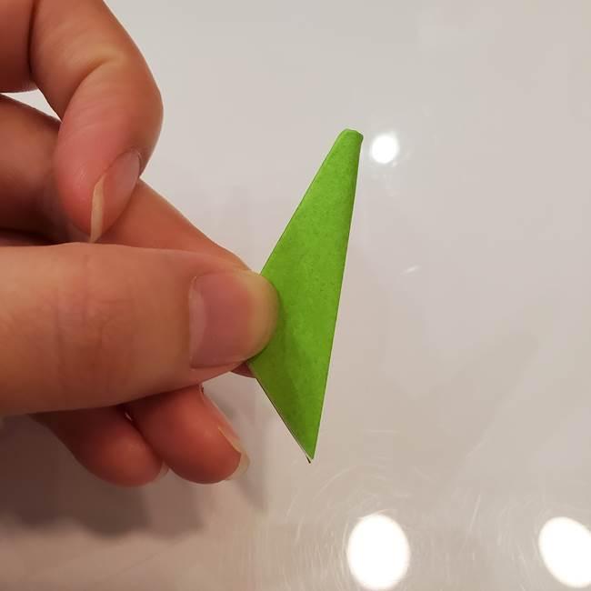 かぼちゃの折り紙 立体で難しいジャックオーランタンの折り方作り方③へた(12)