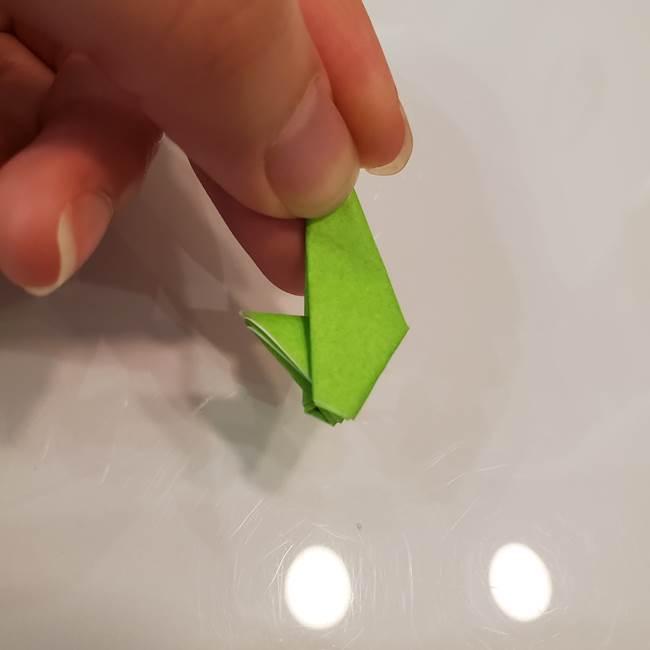 かぼちゃの折り紙 立体で難しいジャックオーランタンの折り方作り方③へた(14)