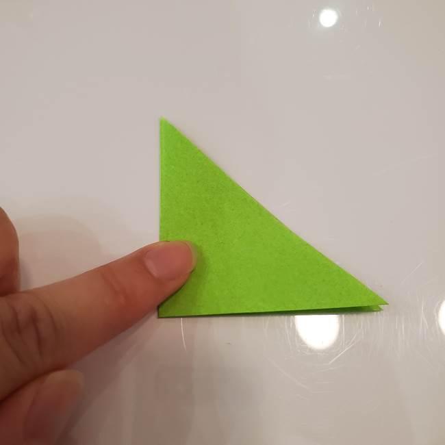 かぼちゃの折り紙 立体で難しいジャックオーランタンの折り方作り方③へた(3)