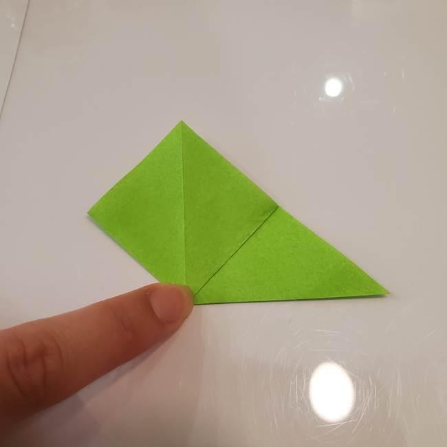 かぼちゃの折り紙 立体で難しいジャックオーランタンの折り方作り方③へた(5)