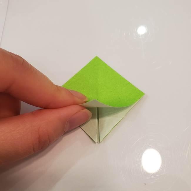 かぼちゃの折り紙 立体で難しいジャックオーランタンの折り方作り方③へた(8)