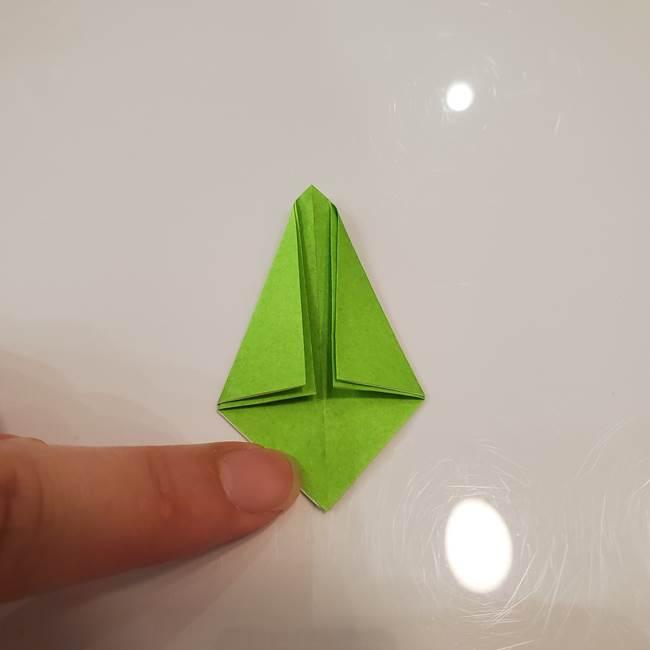 かぼちゃの折り紙 立体で難しいジャックオーランタンの折り方作り方③へた(9)