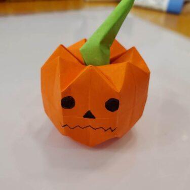 かぼちゃの折り紙 立体で難しいジャックオーランタンの折り方作り方★