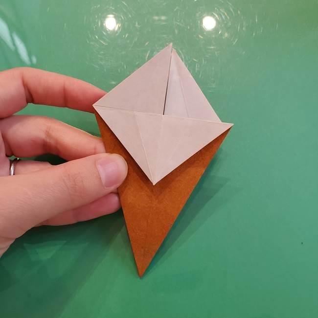どんぐりの折り紙の折り方作り方(立体)③傘(20)