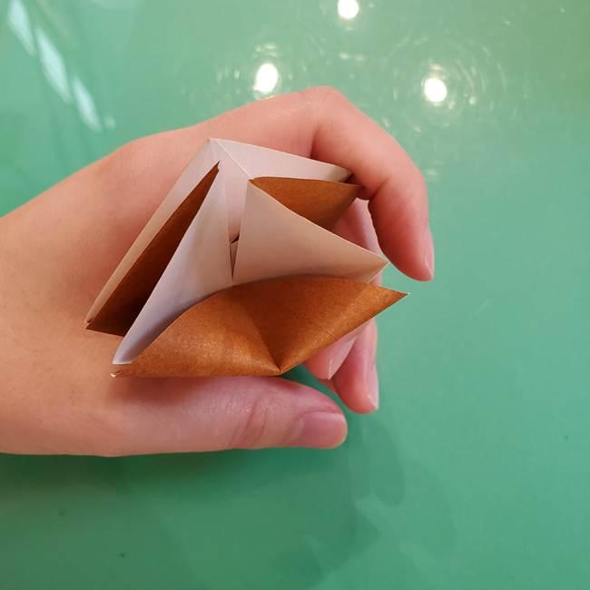 どんぐりの折り紙の折り方作り方(立体)③傘(21)