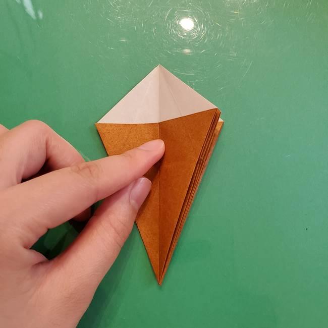 どんぐりの折り紙の折り方作り方(立体)③傘(25)