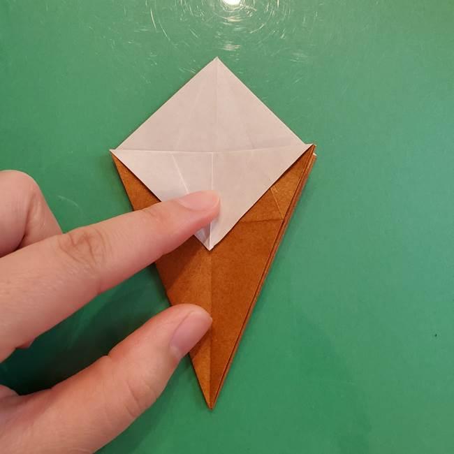 どんぐりの折り紙の折り方作り方(立体)③傘(27)