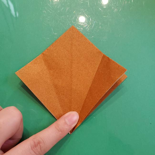どんぐりの折り紙の折り方作り方(立体)③傘(6)