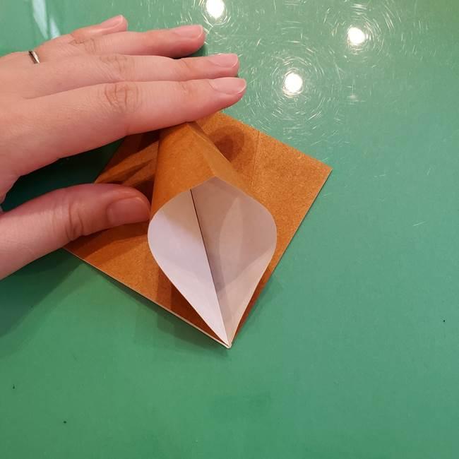 どんぐりの折り紙の折り方作り方(立体)③傘(8)
