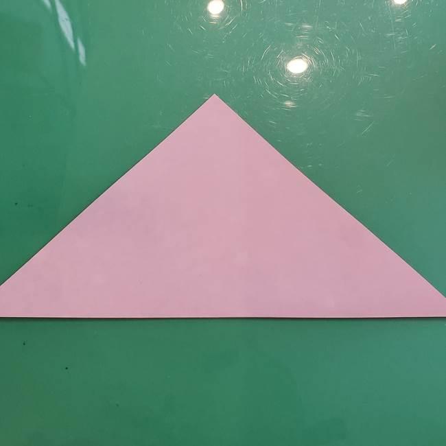 ハロウィンのかぼちゃ 折り紙の切り抜きでつくる折り方切り方①折り方(2)