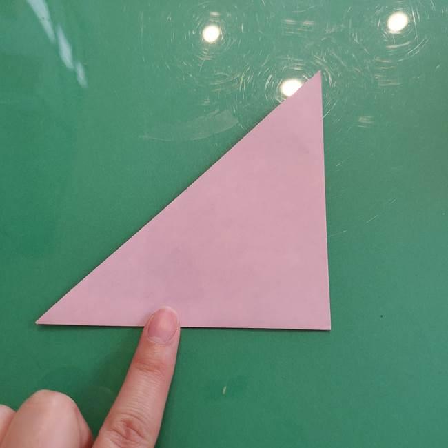 ハロウィンのかぼちゃ 折り紙の切り抜きでつくる折り方切り方①折り方(3)