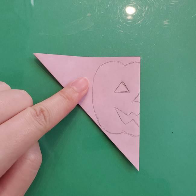 ハロウィンのかぼちゃ 折り紙の切り抜きでつくる折り方切り方②描き方(4)