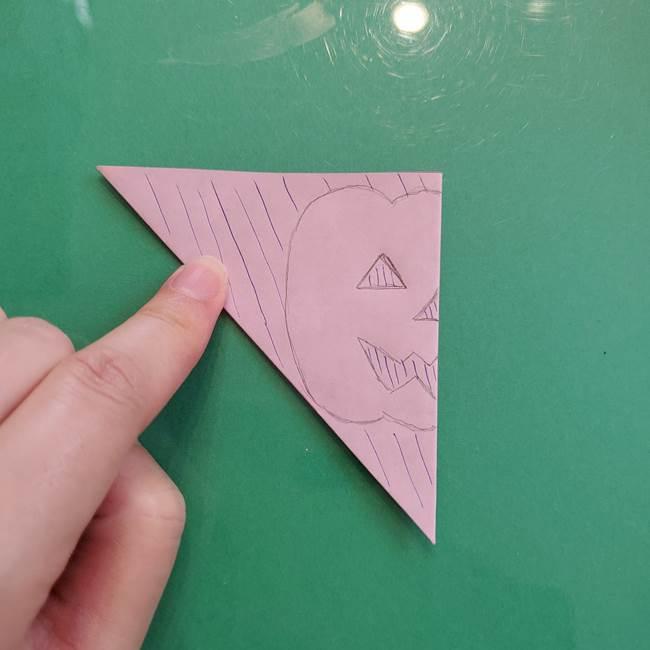 ハロウィンのかぼちゃ 折り紙の切り抜きでつくる折り方切り方②描き方(5)