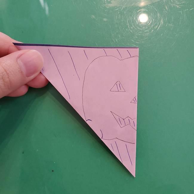 ハロウィンのかぼちゃ 折り紙の切り抜きでつくる折り方切り方②描き方(6)