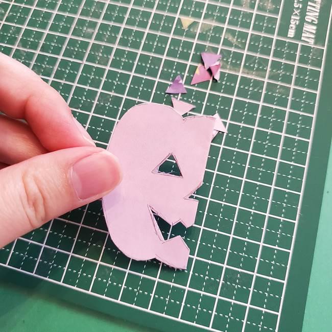 ハロウィンのかぼちゃ 折り紙の切り抜きでつくる折り方切り方③切り方(6)