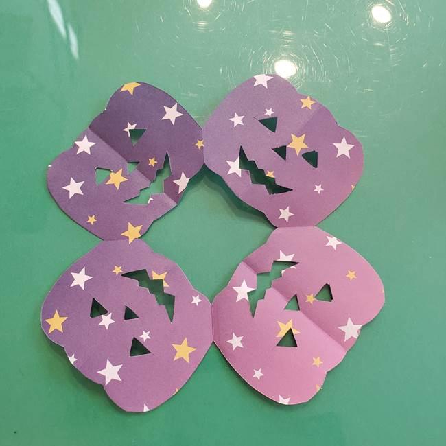 ハロウィンのかぼちゃ 折り紙の切り抜きでつくる折り方切り方③切り方(9)