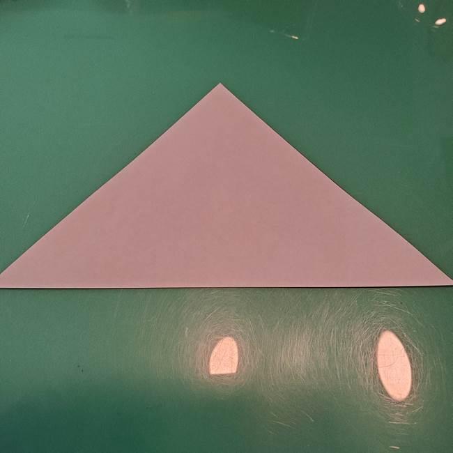 ハロウィンの折り紙 切り絵のコウモリの切り方折り方①折り方(2)
