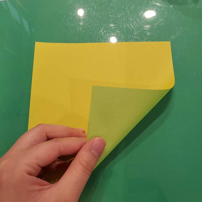 折り紙の梨 立体的でリアルな折り方作り方①前(1)