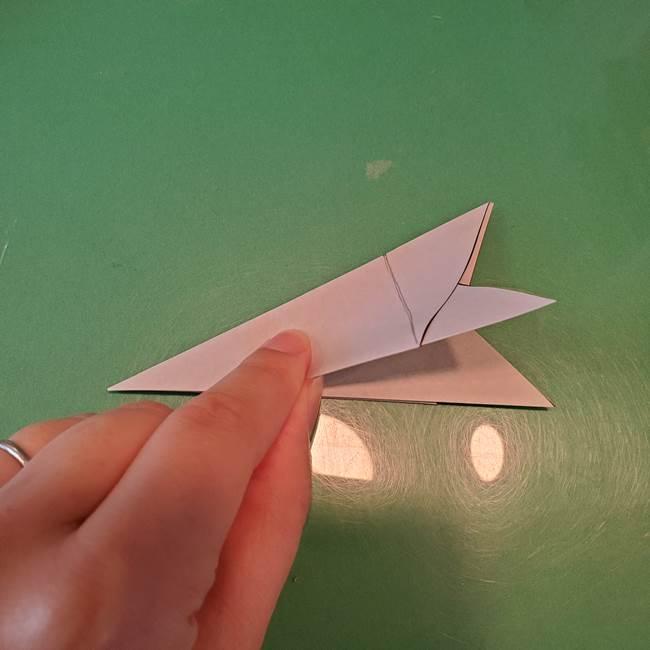 蜘蛛の巣の折り紙 切り絵の切り方折り方①折り方(11)