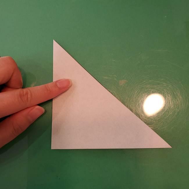 蜘蛛の巣の折り紙 切り絵の切り方折り方①折り方(3)