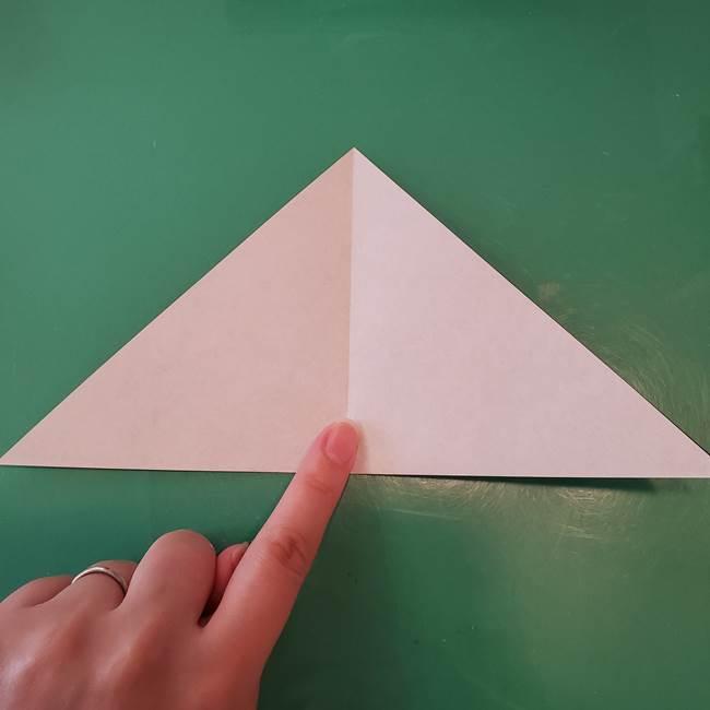 蜘蛛の巣の折り紙 切り絵の切り方折り方①折り方(4)
