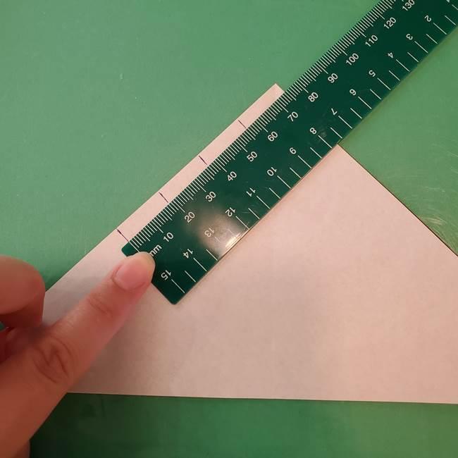蜘蛛の巣の折り紙 切り絵の切り方折り方①折り方(6)