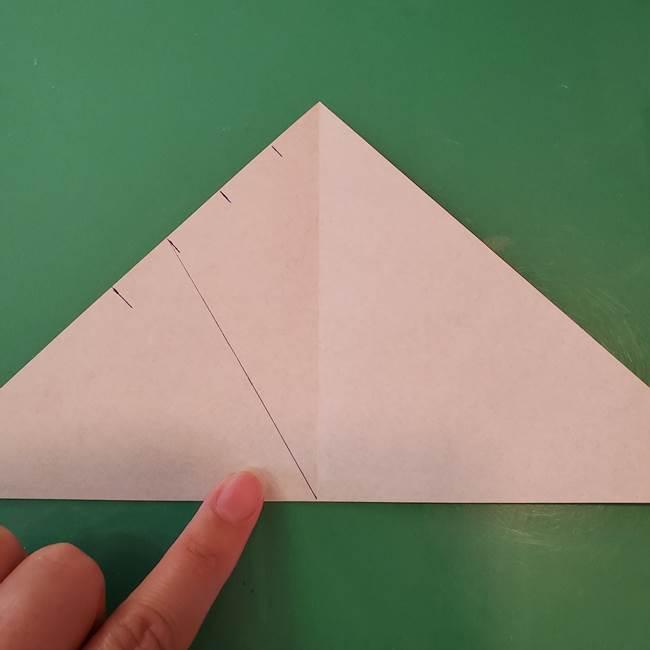 蜘蛛の巣の折り紙 切り絵の切り方折り方①折り方(7)