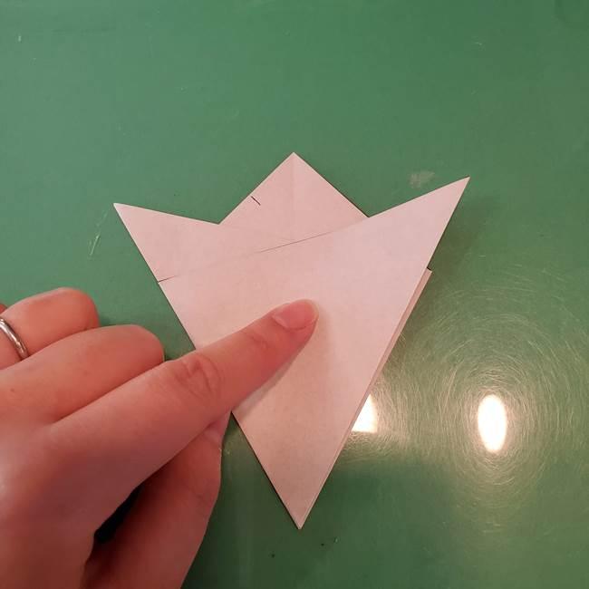 蜘蛛の巣の折り紙 切り絵の切り方折り方①折り方(9)