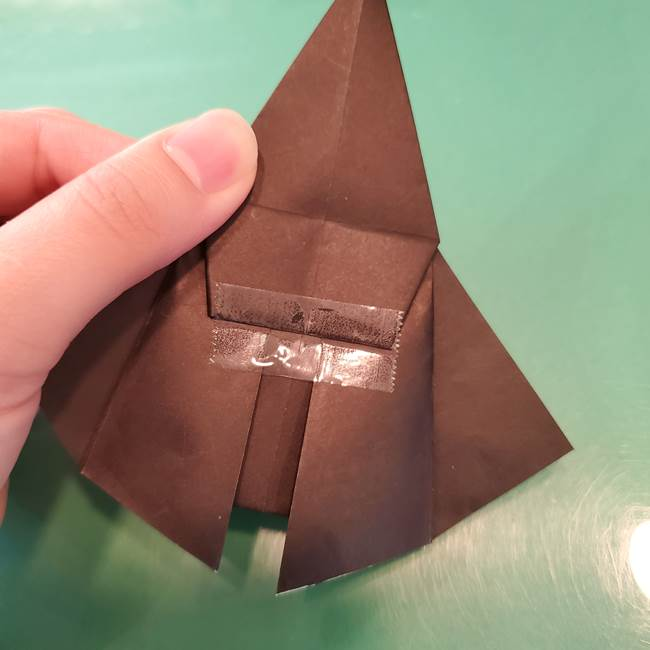 魔女の折り紙 幼児でも簡単な折り方作り方①折る(23)