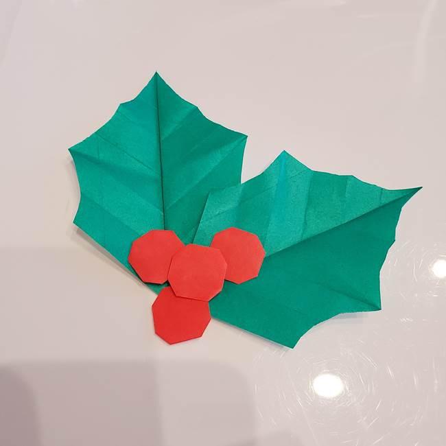 ひいらぎの折り紙の作り方折り方は簡単♪平面でクリスマス飾りにピッタリ!