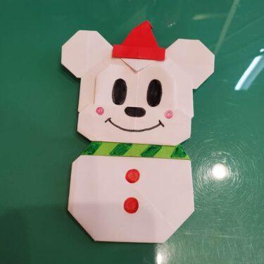 折り紙で雪だるまミッキーの折り方作り方★簡単かわいい冬のディズニー飾り