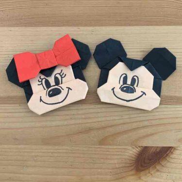 折り紙 ディズニーのミッキー&ミニーの折り方作り方|キャラクターがかわいい!